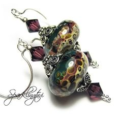 Sterling silver, lampwork beaded earrings