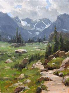 Dave Santillanes (Into the Wilderness study) morning Watercolor Trees, Watercolor Landscape, Landscape Art, Landscape Paintings, Mountain Paintings, Environmental Art, Mountain Landscape, Western Art, Painting Techniques