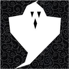 Whooo-oooo--a(not-so-spooky) Ghostquilt block for your Halloween projects! To reduce shadowing by the black fabric when paper piecingthe ghost, use a good qualitywhite fabric. Trim all seam allowances so that the black seam allowance is slightly narrower than the white. Download the PDF Ghost quilt block pattern