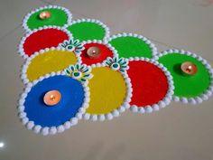 Diwali ki corner special very easy rangoli design. by DEEPIKA PANT Easy Rangoli Designs Diwali, Rangoli Simple, Simple Rangoli Designs Images, Small Rangoli Design, Colorful Rangoli Designs, Rangoli Ideas, Diwali Rangoli, Beautiful Rangoli Designs, Rangoli 2017