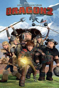 Póster Como Entrenar a tu Dragón 2 Estupendo póster con la imagen de la portada de la segunda entrega de la película Como entrenar a tu dragón 2