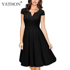 YATHON Vintage Evening Party Swing Skater Dresses For Womens Elegant 1950's Retro Cap Sleeve Stretchy Casual Office Work Dress #Affiliate