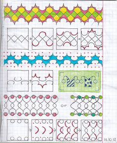 Step-by-step instructions to new Zentangle designs Tangle Doodle, Doodles Zentangles, Zen Doodle, Doodle Art, Doodle Designs, Doodle Patterns, Zentangle Patterns, Painting & Drawing, Blackwork