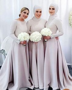 - Special Arabic Muslim Bridesmaid Dresses Scoop Long Sleeves A-line Satin Hajib Evening Dresses Cheap Formal Party Gowns Muslim Prom Dress, Muslimah Wedding Dress, Muslim Wedding Dresses, Junior Bridesmaid Dresses, Wedding Party Dresses, Wedding Bouquets, Hijab Dress Party, Party Gowns, Simple Lace Wedding Dress