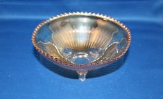 Vintage Depression Era Golden Iridescent Carnival Glass Ribbed Footed Bowl by KattsCurioCabinet on Etsy