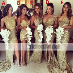 Mismatched Gold Sparkly Women Long Wedding Party Dresses for Bridesmaids e64eaf27c77e