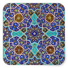 Vintage turkish moroccan persian mosaic blue tiles stickers zazzle