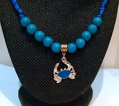 Teal and Black Crab Beaded Necklace  Combination Bead by DuMoments