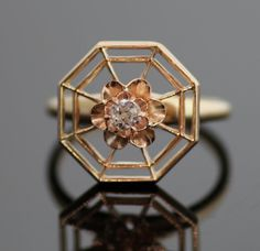 *NICE* Antique 14K Rose Gold Spider Web Ring with by SITFineJewelry, 795$