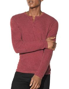 John Varvatos Star U.S.A. Cotton Long Sleeve Henley Tee Men's Red Rum