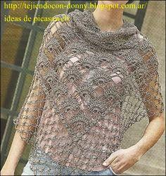 chal , tejido a crochet con su patrón http://tejiendoalcrochet.blogspot.com.ar/