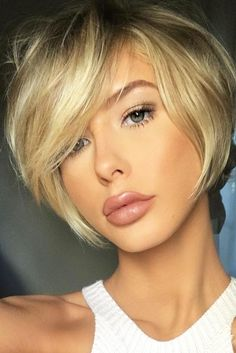 Synthetic African American Wigs Natural Short Straight Layered Bob Synthetic Hair Wig 10 In Blonde Bob Haircut, Haircut For Thick Hair, Short Bob Haircuts, Straight Hairstyles, Cute Side Bangs, Short Hair Cuts, Short Hair Styles, Short Hair Back, Bobs For Thin Hair