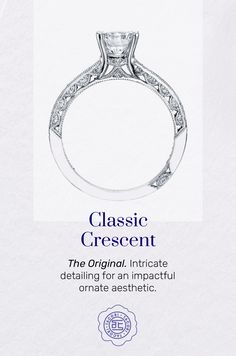A crescent fabric is the inner face detail exclusive to Tacori engagement rings and wedding bands? We have seven signature Tacori fabrics to choose from, each highlighting the exquisite craftsmanship and signature detail at the heart of all we do. #Tacori #TacoriCrescent #TacoriRing #details #engagementring #engagementringinspo Tacori Rings, Tacori Engagement Rings, Wedding Bands, Fabrics, Vintage Fashion, Detail, Heart, Face, Jewelry