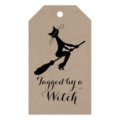Tagged By A Witch Cat On Broomstick Gift Tags