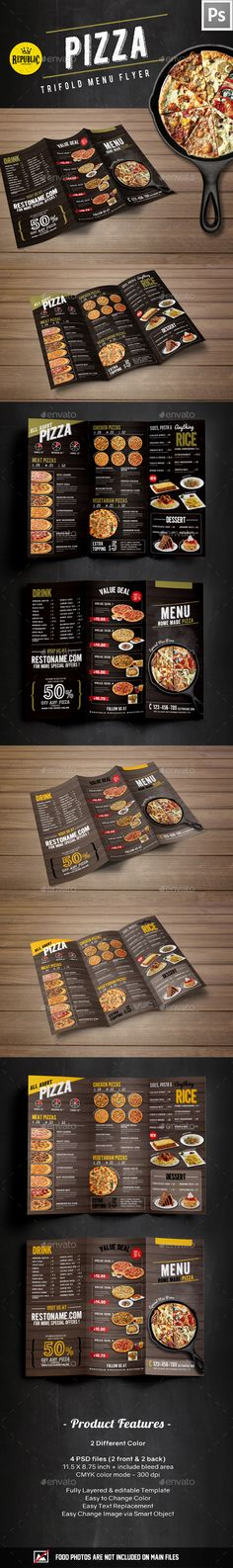 Buy Trifold Pizza Menu by MyRepublic on GraphicRiver. Trifold Pizza menu File features : TRIFOLD MENU 2 Different Color 4 PSD files front and 2 back) inch (i. Food Menu Template, Restaurant Menu Template, Restaurant Menu Design, Pizzeria Menu, Pizza Menu Design, Food Menu Design, Pizza Flyer, Menu Flyer, Cafeteria Menu