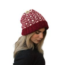 Knit women fair isle hat/ knit slouchy hat/ gift for her/ women hat/ wnter knit hat/ winter accessories/ handmade hat/ knit red hat by PepperFashion on Etsy