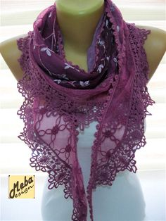Purple scarf-Fashion scarf gift Ideas For Her by MebaDesign