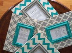 Chevron and Moroccan Themed Distressed Frames. Collage of 4 frames in Mystique white, Turquish, and Hazy Stratus gray Frame Crafts, Diy Crafts, Wooden Picture Frames, Wooden Frames, Distressed Frames, Arte Country, How To Raise Money, How To Make, Decoupage