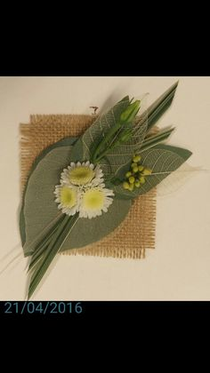 Non standard glued corsage- hessian back, skeleton leaves