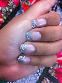 French manicure with silver tips!!!!