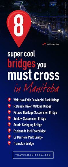 As bridges have become a popular subject matter for photographers, we compiled a little list of some of the most intriguing and attractive bridges in Manitoba Stuff To Do, Things To Do, Cool Stuff, Suspension Bridge, You Must, Bridges, Photographers, How To Become, Popular
