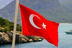 Turkish flag in the middle of the Mediterranean Sea