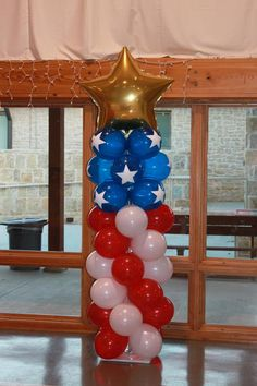 American flag balloon column