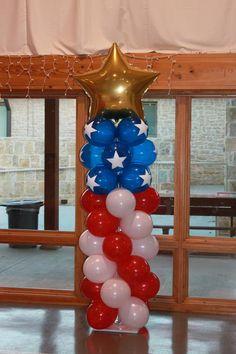 American flag balloon column