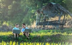 Dzieci, Śmiech, Badanie, Laptop