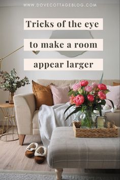 How to trick the eye into making a room or space appear bigger than it is and make the most of the small space you have in your home. Small house living tips including clever storage ideas, lighting tips and how to declutter your home. Make a home feel larger with these seven expert tips #homedecor #smallroomdesign #smallhome #dovecottageblog Small House Living, Living Rooms, Living Room Decor, Cosy Lounge, Lounge Decor, Ikea Drawer Dividers, Under Stairs Cupboard, The Home Edit, Big Rugs