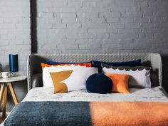 Rachel Castle bedding in orange of soft grey