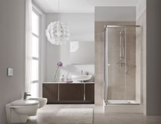Soft look shower room with Corner Entry Shower Enclosure Wood Burner, Downstairs Bathroom, Shower Enclosure, Home Remodeling, New Homes, Bathtub, Flooring, Mirror, Architecture