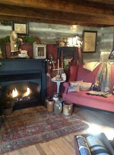 I love the primitive with the modern fire place