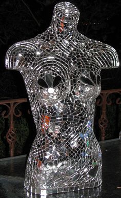Mannequin mirrored mosaic #DIY, EXCEPT BUY A HAND JEWELRY HOLDER & DO THIS! TO HANG BRACELETS & RINGS!