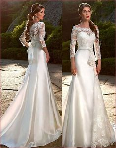 Elegant Satin & Tulle & Lace Off-the-Shoulder Neckline Mermaid Wedding Dresses with Lace Appliques - Mermaid Dresses Satin Mermaid Wedding Dress, Princess Wedding Dresses, Modest Wedding Dresses, Elegant Wedding Dress, Perfect Wedding Dress, Mermaid Dresses, Wedding Dress Styles, Bridal Dresses, Wedding Gowns