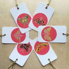 Winter Moth Pink 6 Gift Tags