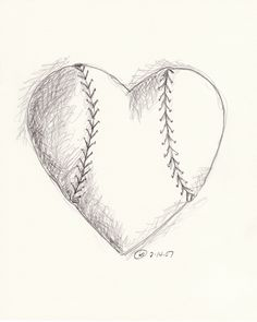 A quick sketch for Tom a few years ago for Valentines Day that started my baseball drawing series.