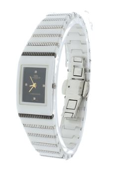 Oniss ON651-L Women's Watch Ceramic & Stainless Steel Band With Genuine Diamond Black Dial