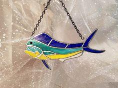 Mahi Mahi aka Dolphin Fish Stained Glass Suncatcher by SunshineSuncatchers on Etsy