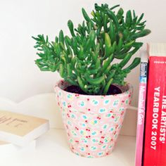 DIY fabric covered plant pots! A great way to use up fabric offcuts and update your home!