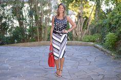 Moda corporativa - look do dia - look de trabalho - look verão - moda executiva - work outfit - office outfit - summer - mix de estampas - black and white and red - poá e listras - stripes and polka dots