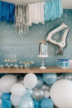 boy birthday parties Feeling a frigid frost? Bundle up, bunker down and take a look at this Stylish Frozen Birthday Party by Manga Halvorsen of KF Party Couture, out of Australia. Frozen Birthday Party, Frozen Theme Party, Safari Birthday Party, Birthday Party Tables, Blue Birthday, 4th Birthday Parties, Frozen Party Table, Frozen Dessert Table, Dessert Table Birthday
