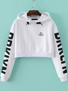 White Letter Print Hooded Crop Sweatshirt Crop Top Jacket, Crop Top Hoodie, Crop Shirt, White Hoodie, Cropped Hoodie, Long Hoodie, Cute Outfits, Outfits For Teens, Fashion Outfits