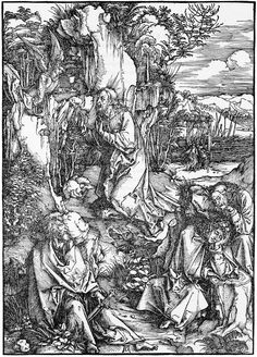 Durer: The Large Passion: 2. Christ on the Mount of Olives  	    circa 1497  Medium 	    woodcut