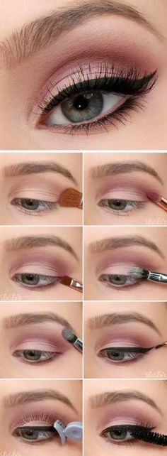 47 trendy makeup tips eyeshadow step by step make up Make Up Tutorial Contouring, Makeup Tutorial Eyeliner, Easy Makeup Tutorial, Eyeshadow Makeup, Eyeliner Ideas, Glitter Eyeshadow, Glitter Makeup, Eyeshadow Brushes, Easy Eyeshadow