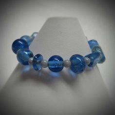 Denim Blue stretch Bracelet by LadyBirdJewelry on Etsy, $16.00