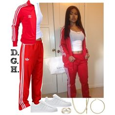 Red Adidas., created by dopegenhope on Polyvore