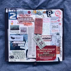 So I picked a week, & took the plunge! As maximalist as always, & it looks even more insane cuz I tried to make some of my journaling private by covering them with tickets! I must say, I'm digging the vertical format (not that I'm adhering to the lines!) #betterlatethannever #midoritravelersnotebook #mtn #tn #tnsg #travelersnotebook #travelersfactory #journal #journaling #artjournal #artjournaling #collage #mixedmedia #timholtz #stationeryaddict #loveforanalogue #papercraft #vscocam