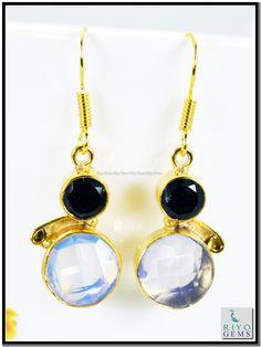 Blue Topaz Citrine Cz Gems 18 C Y.G. Plated Earring L 1.5in Gpemul-5207 http://www.riyogems.com