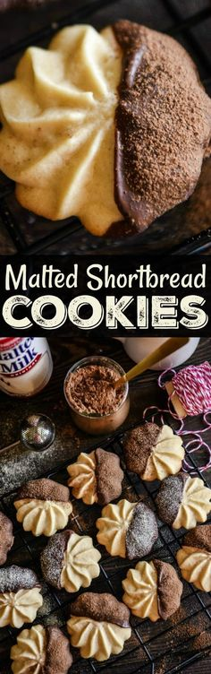 Malted Shortbread Cookies: malted milk powder is added to a classic buttery shortbread cookie that is baked till golden and then dipped in dark chocolate!